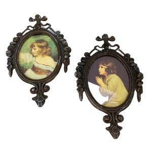 Two miniature Italy ornate brass picture frames Master Hare The Child Samuel 4x6